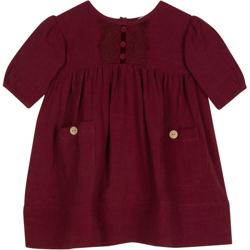 Burgundy short sleeve vintage high waisted girls dress