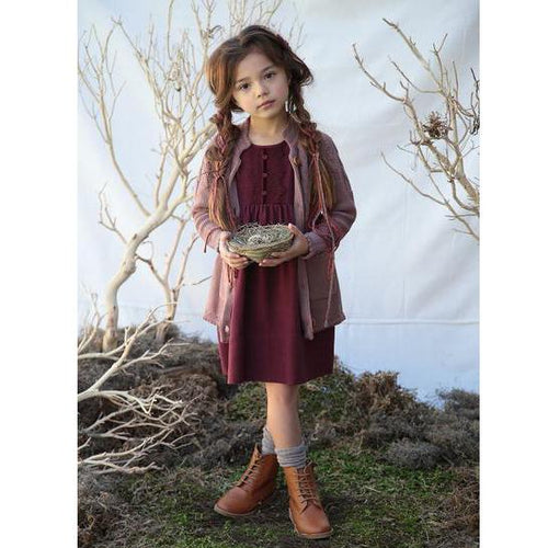 Blu Pony Vintage Burgundy Zuzu Girls Dress