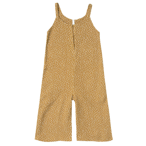 Girls rust sleeveless dot sleeveless jumpsuit