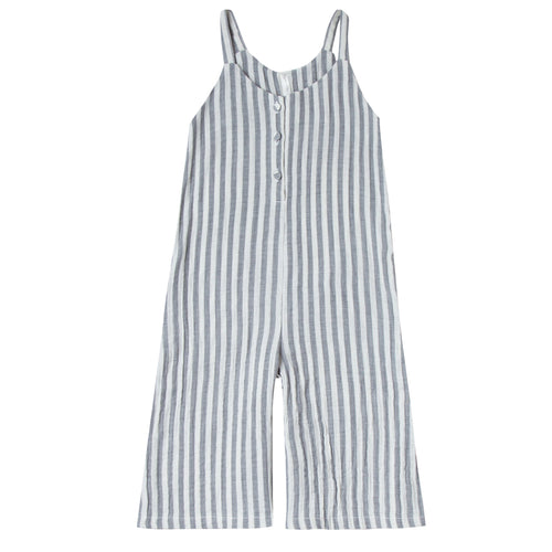 Girls sleeveless jumpsuit with grey and white stripes