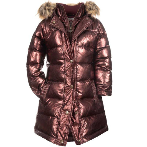 Appaman Long Down Girls' Coat - Metallic Burgundy