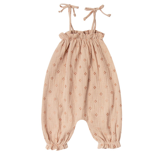 Baby girl light pink jumpsuit with tie shoulders