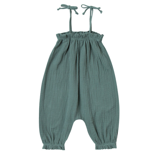 Baby girl dark green jumpsuit with tie shoulders