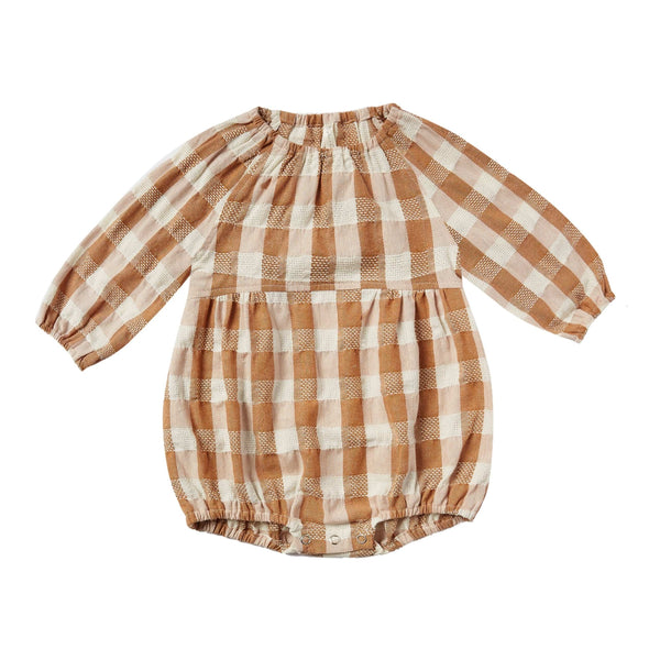 Rylee and cru brown check baby girl romper