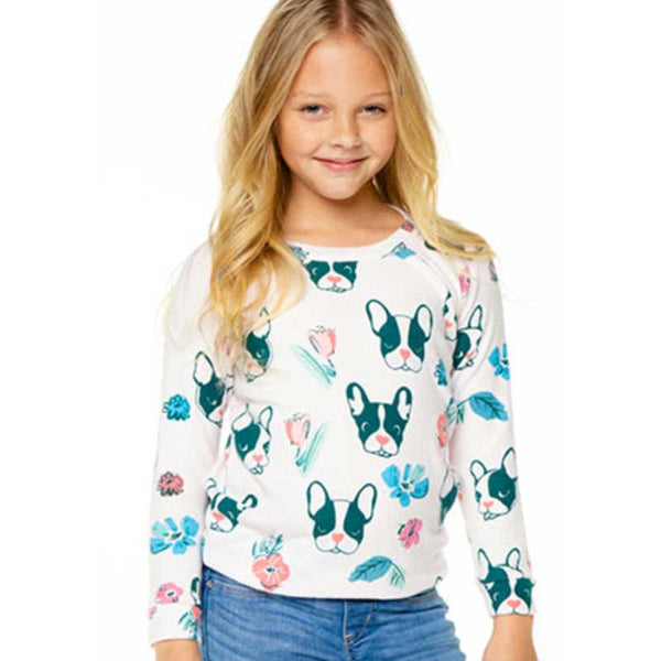 Chaser French Bulldog Love Knit Girls Pullover