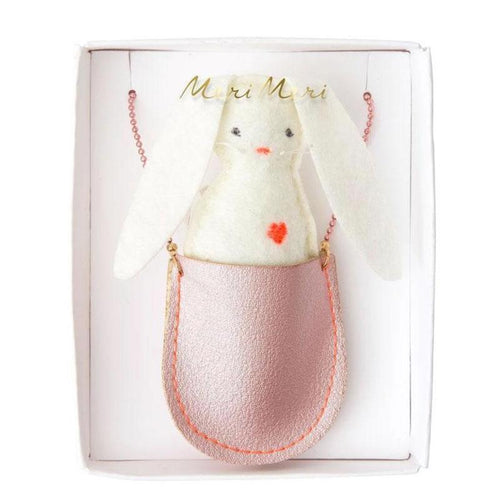 Pink pouch necklace with white felt bunny