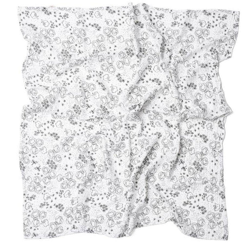 Open black and white muslin swaddle with bunny print