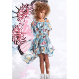 Blue and pink butterfly printed girls dress with off shoulder bodice