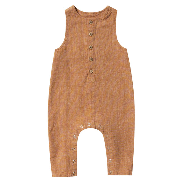 Rylee and cru brown button baby jumpsuit