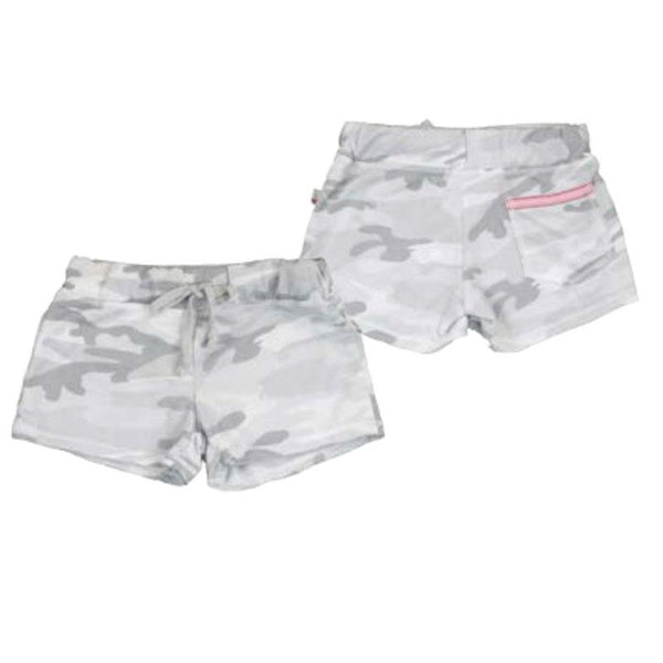 Tween girl shorts in grey camo with back pocket