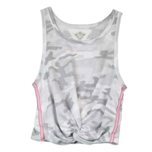 Girls grey camo tank with pink striped sides