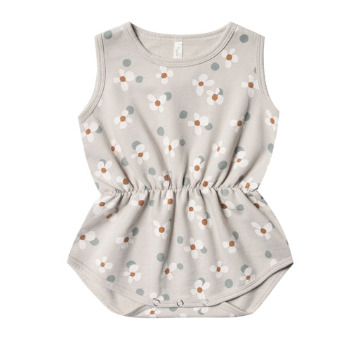 Rylee and cru grey floral baby girl sleeveless bubble onesie