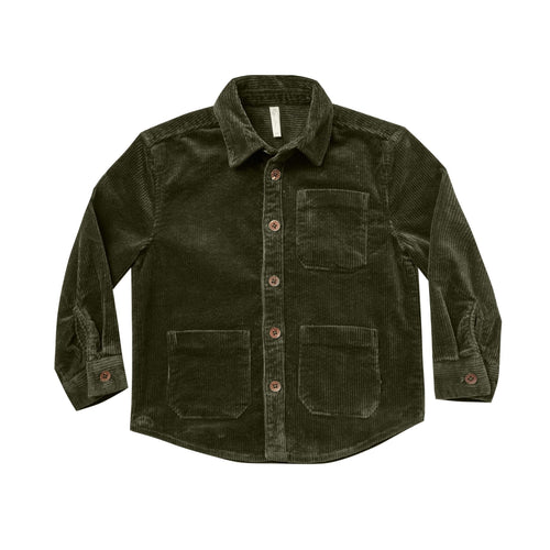 Rylee and cru green corduroy button front boys shirt