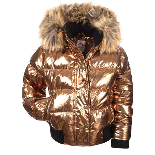 Appaman Kyla Puffer Girls' Coat - Metallic Copper