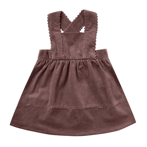Rylee and Cru Wine Corduroy Girls Pinafore