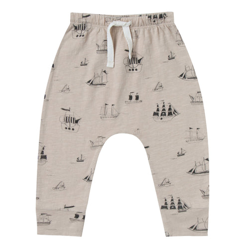 Baby boy grey baggy pants with ship artwork