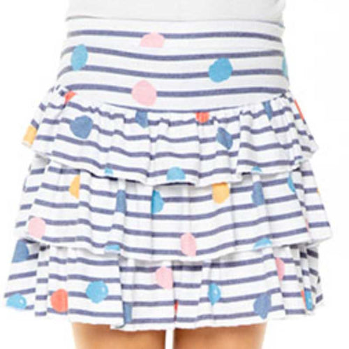 Chaser Dots & Stripes Love Knit Ruffle Girls Skirt