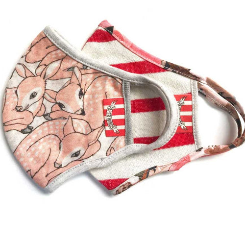 Paper Wings 2-in-1 Face Mask Set, Fawn and Red Stripe, 2-7 years