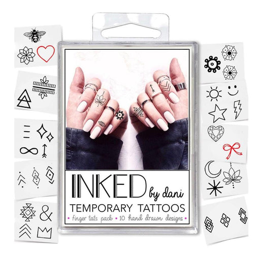 Pack of small finger temporary tattoos