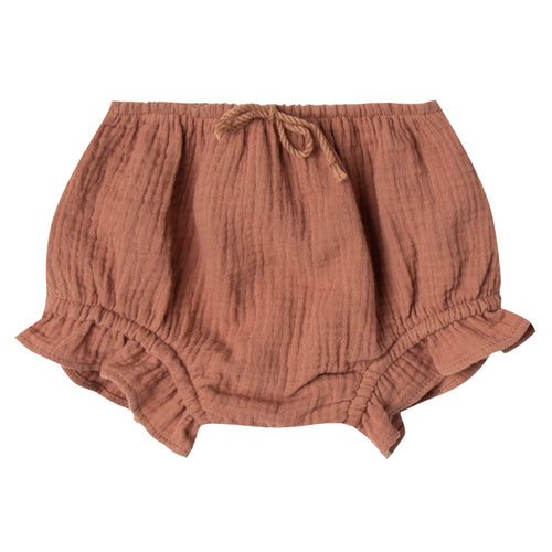 Baby girl mauve bloomers with ruffle leg