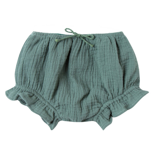 Baby girl dark green bloomers with ruffle leg