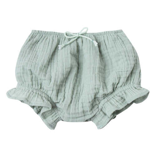 Baby girl pale green bloomers with ruffle leg