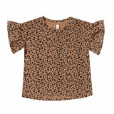 Rylee and cru short sleeve cheetah print ruffle girls t shirt