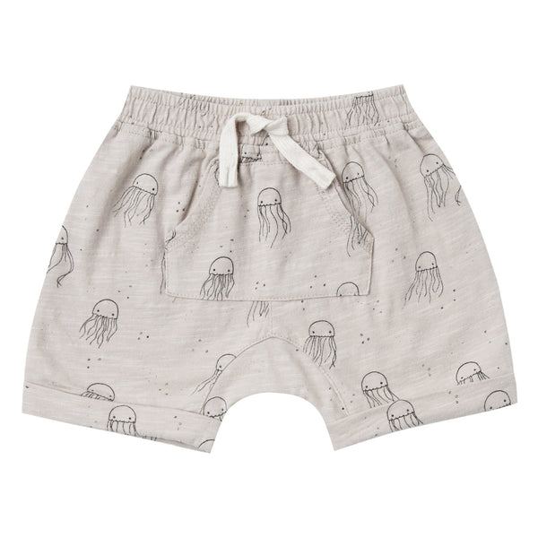 Baby boy grey knit shorts with jellyfish print