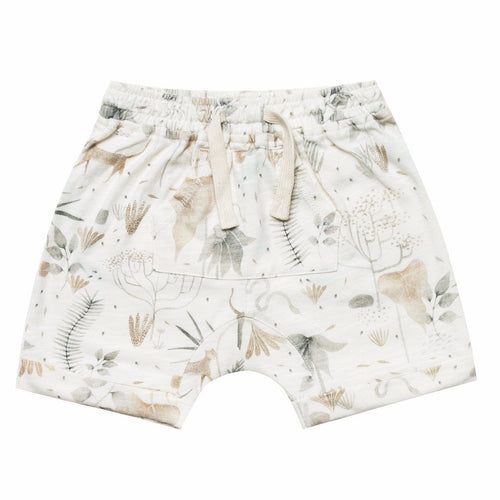 Boys cream knit shorts with allover jungle print