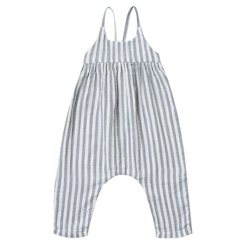 Baby girl grey and white stripe jumpsuit with tie back