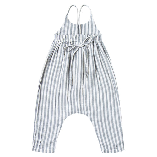 Grey and white stripe jumpsuit with tie back for baby girl