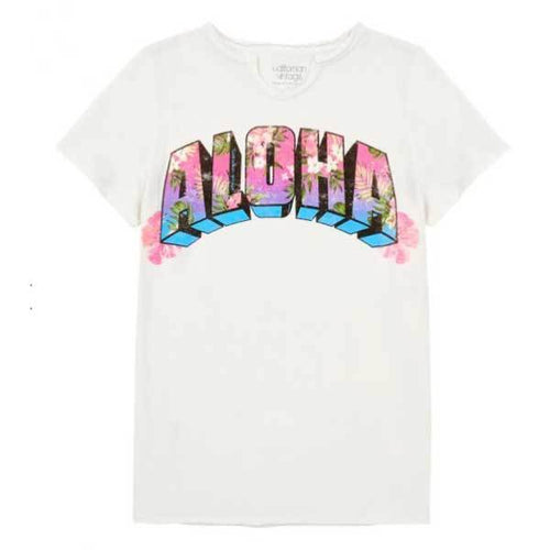 White short sleeve aloha tee shirt for girls