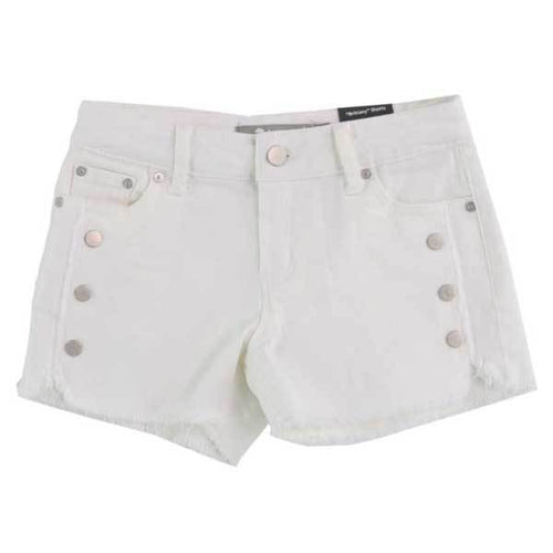 White tween girls jean shorts with snaps |Tween Jean Shorts