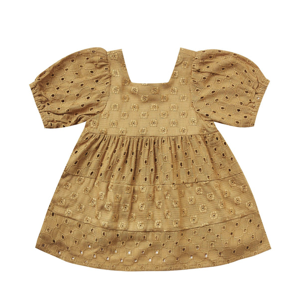 Rylee and cru mustard eyelet dress for girls