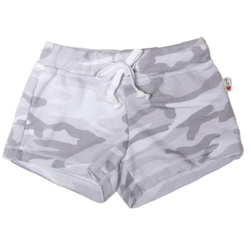 Grey camo tween girls shorts