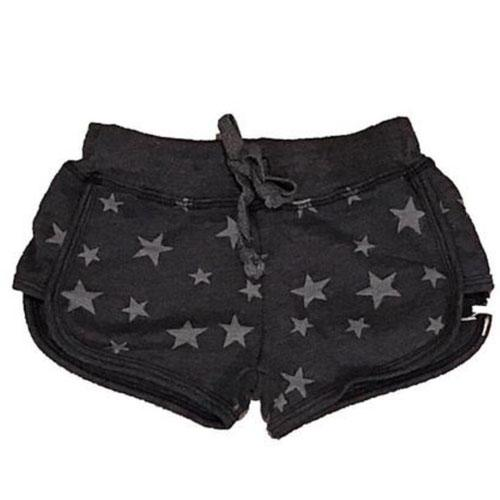 Black track shorts for girls with silver star print