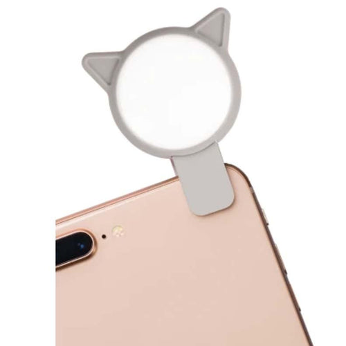 Grey cat selfie light for tween girl
