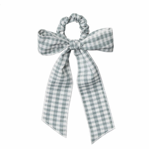 Rylee and cru blue gingham bow hair scrunchie
