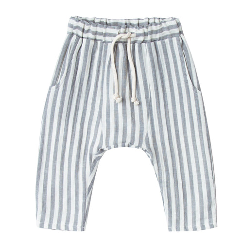 Boys grey and white stripe pull on baggy pants