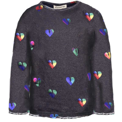 Appaman Rainbow Metallic Hearts Slouchy Sweatshirt