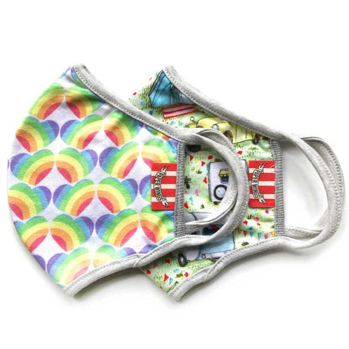 Paper Wings 2-in-1 Face Mask Set, Rainbow Hearts and Camping, 2-7 years