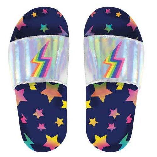 Slides for tweens with lightening bolts