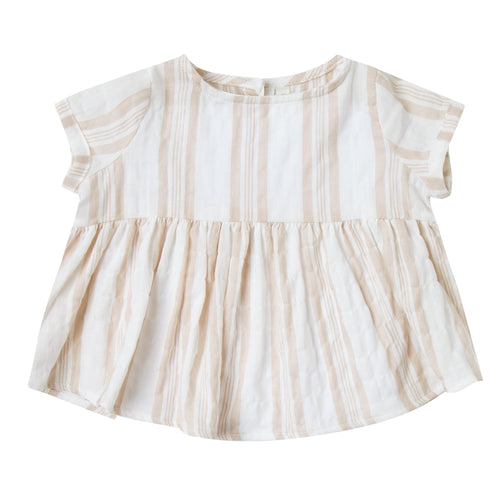 Baby girl khaki and white stripe short sleeve blouse
