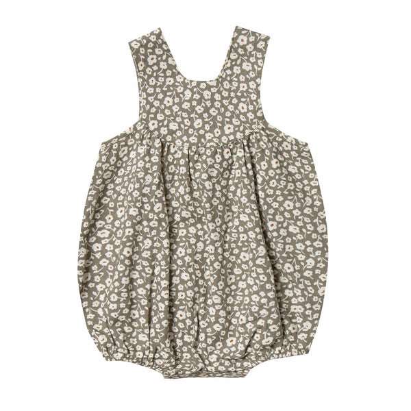 Rylee and cru olive floral summer sleeveless baby girl bubble romper