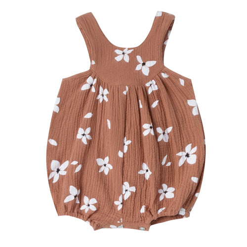 Baby girl terra cotta bubble romper with floral print and button back