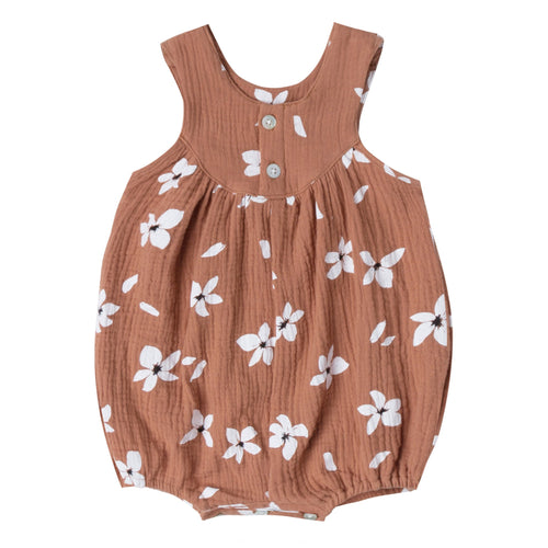 Terra cotta bubble romper with floral print and button back for baby girl