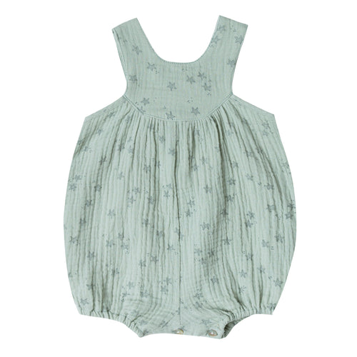 Baby girl light green bubble romper with starfish print