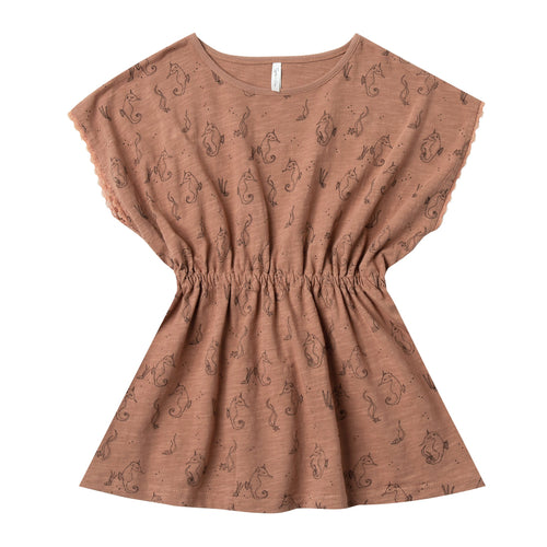 Girls short sleeve dress with allover seahorse print