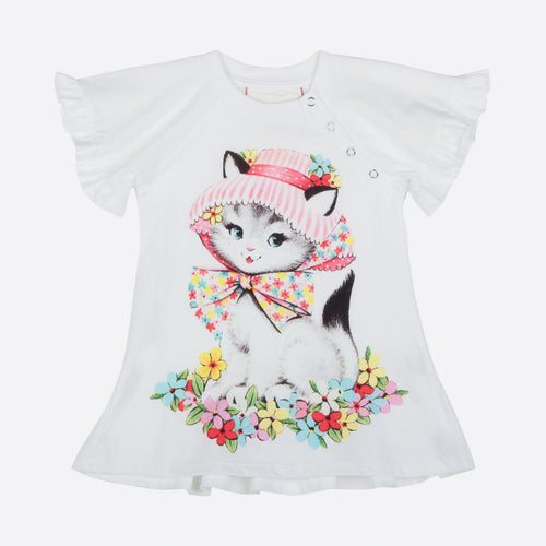 Summer Kitty Frilled Tee Dress by Little Wings (Preorder) - Little Skye Children's Boutique