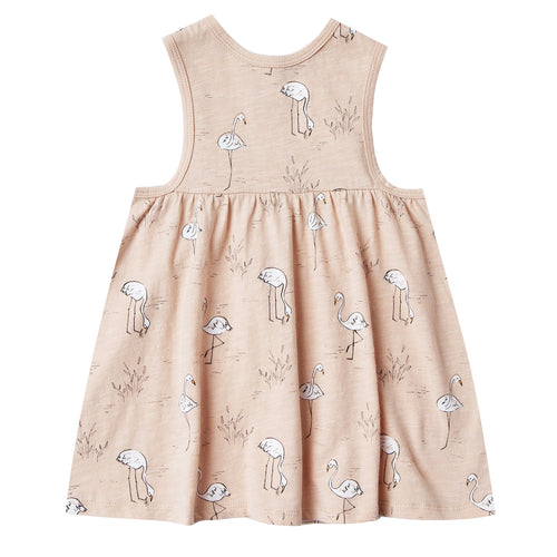 Girls light pink sleeveless dress with flamingo print
